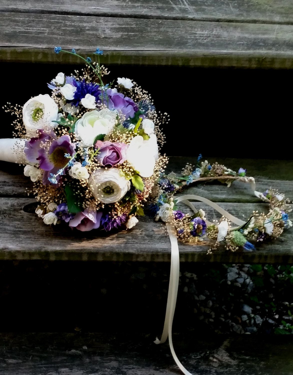 Bridal Bouquet And Dried Flower Crown Set Of 2 Lavender Purple