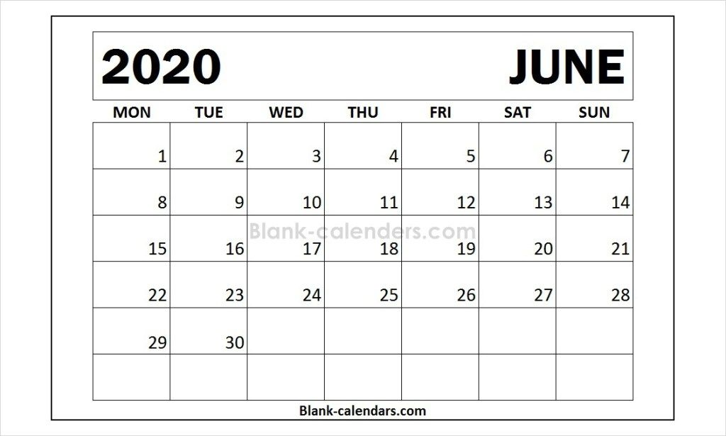 Month Of June 2020 Calendar Template 2020 Calendar Pinterest