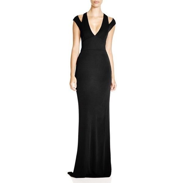 Abs by Allen Schwartz Cutout Shoulder Gown ($375) ❤ liked on ...