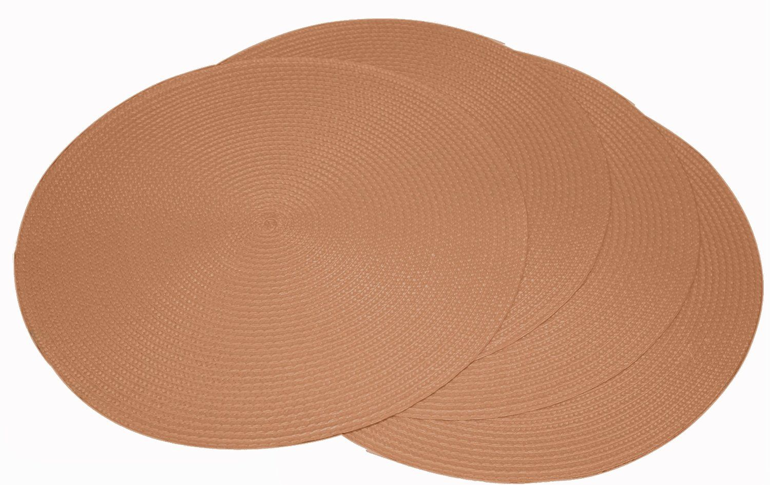 "Fine Woven Round Placemats, 15"""" Diameter, Table Dinner Place Mats (Set of 4)"