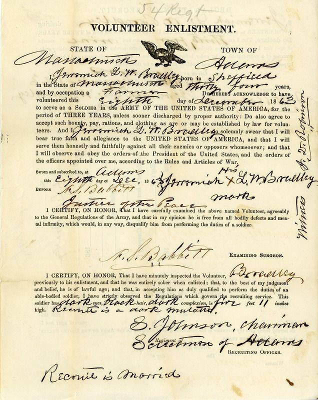 009 Civil War enlistment papers for Jeremiah L. W. Bradley