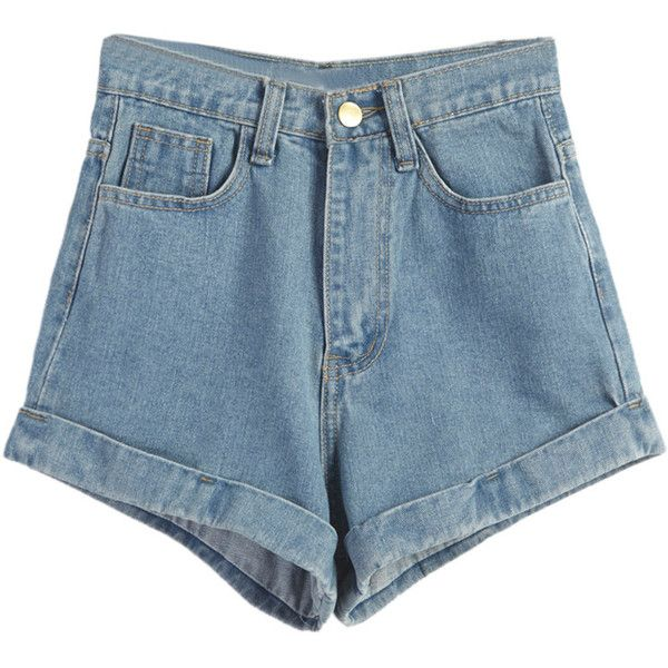 8c162b6ee44 Light Blue High Waist Roll Hem Denim Shorts ( 27) ❤ liked on Polyvore  featuring shorts