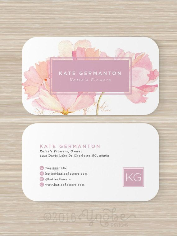 Floral business card florist monogram watercolor pink flowers floral business card florist monogram watercolor pink flowers artist make up artist vistaprint 35 x 2 reheart Gallery