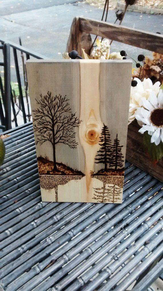 Pyrography Wood burning art Mountain abstact Pine scene Landscape art Bonzai art abstact
