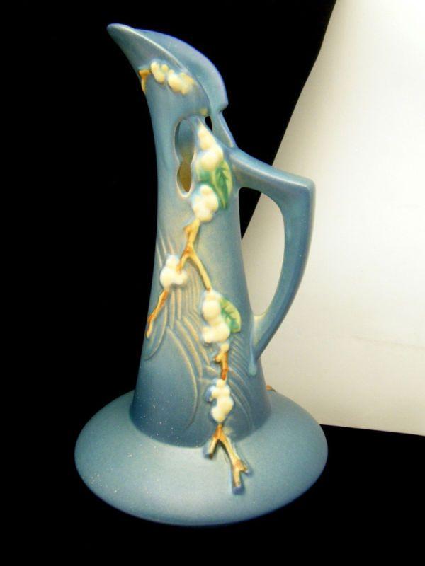 Roseville Snowberry Ewer Pitcher Vase Itk 10 Superb Blue Pottery