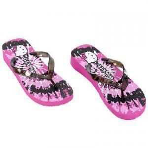 Adult Hello Kitty Flip Flops | pink & black Hello Kitty tie dye flip flops, adult size 5/6