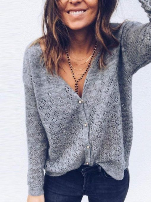 Simple 2 Colors Solid Color V-neck Sweater Tops