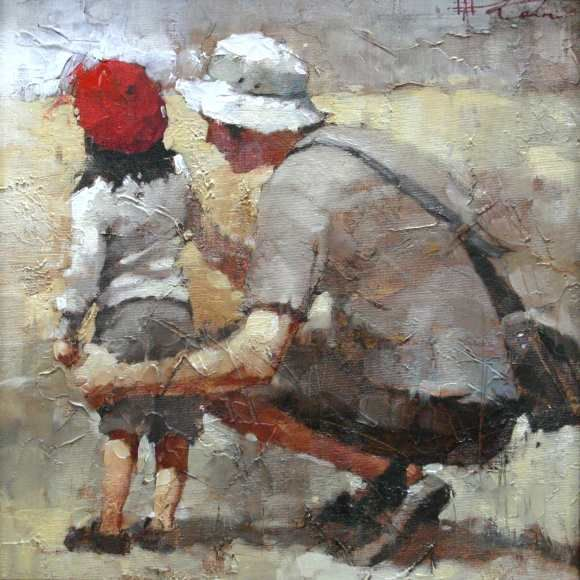 Andre Kohn Dads Girl, Sunday At The Zoo Original Oil Painting