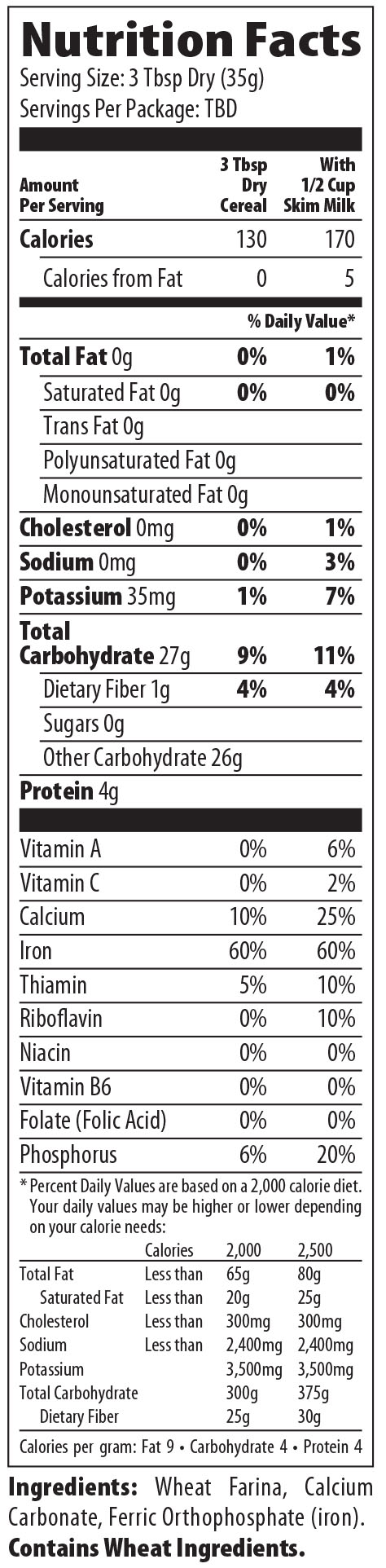 Nutrition Facts For Creamy Hot Wheat Hot Cereal By Malt O Meal