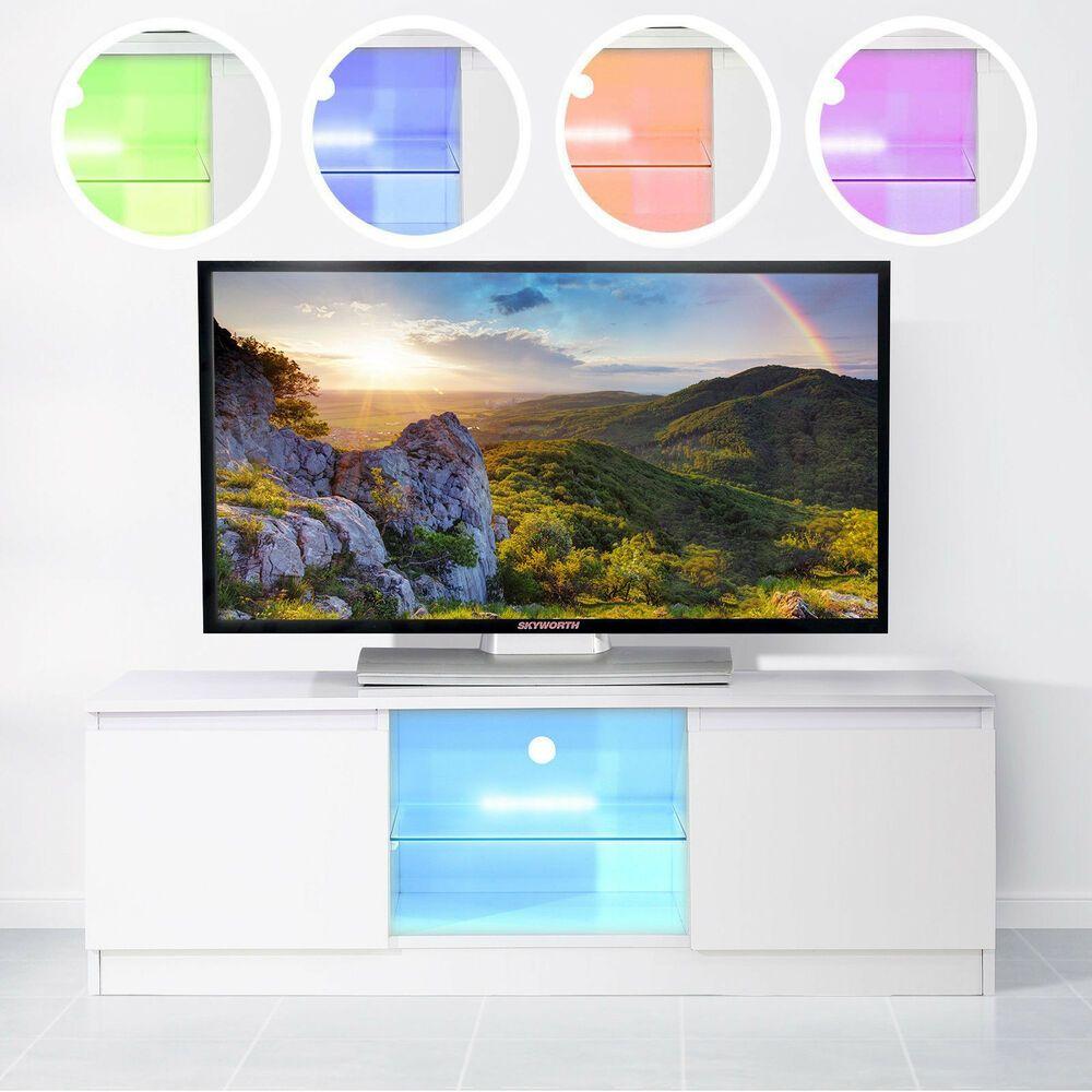 High Gloss White Multi Color Led Tv Stand Entertainmen Unit Cabinet Shelve Doors Led Tv Stand Multi Color Led Led Tv