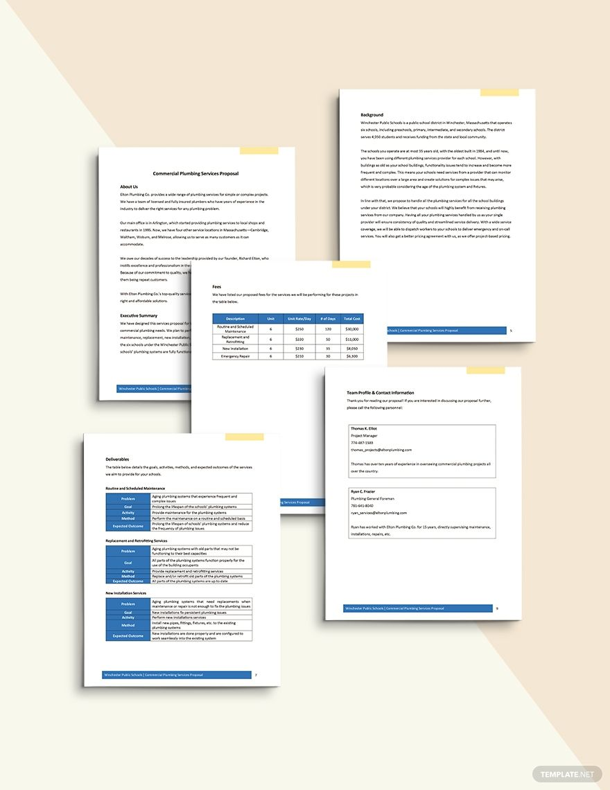 Commercial Plumbing Proposal Template Word (DOC) Apple