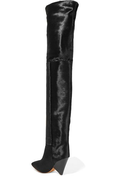 eff05dab228 Isabel Marant - Lostynn Calf Hair Over-the-knee Boots - Black ...