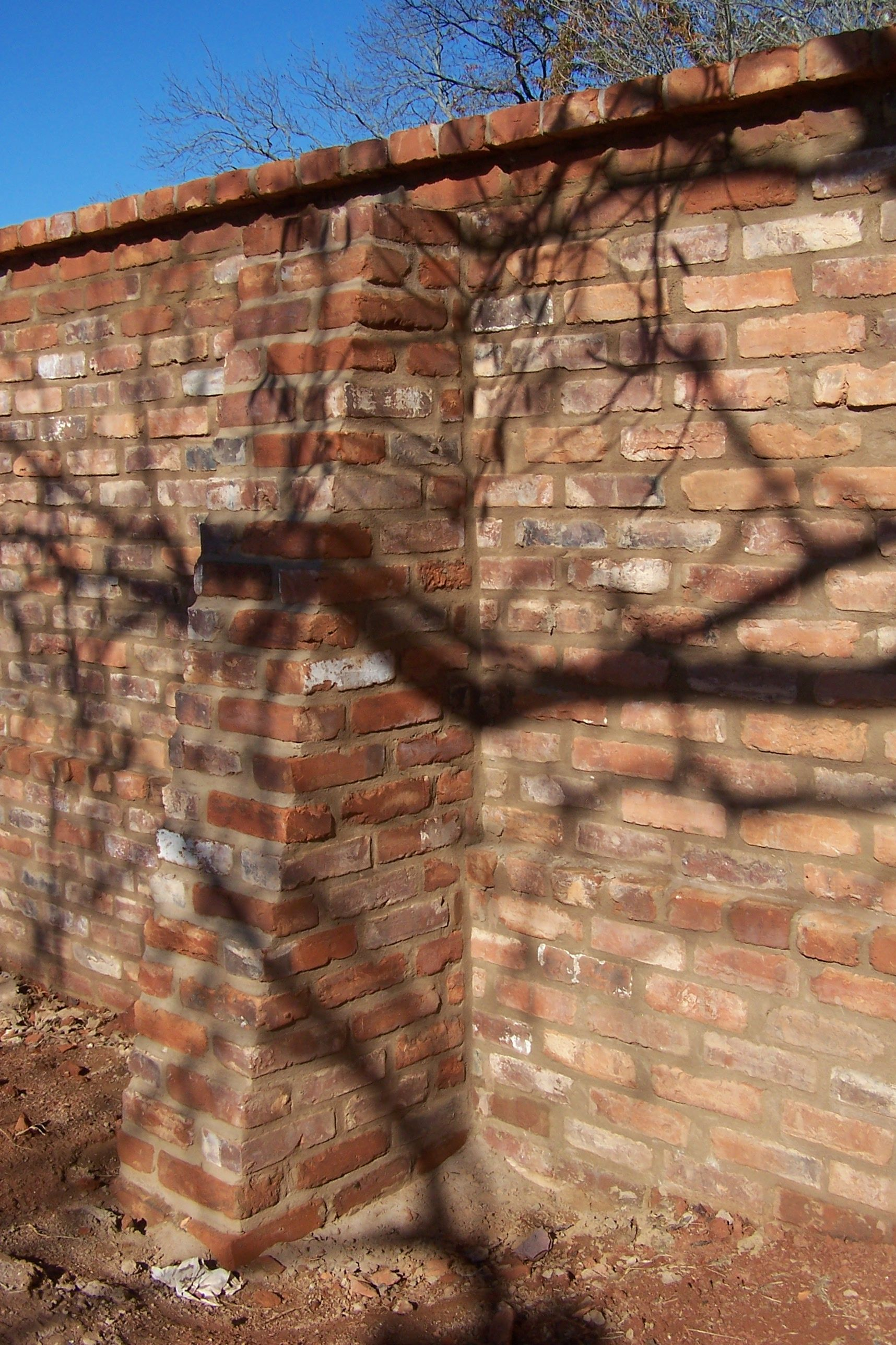 brick wall, old brick, shadows, winter, flying buttress, outside of ...
