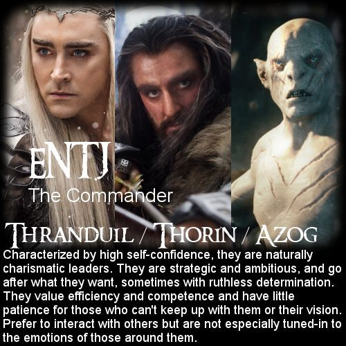 The Commander | The Hobbit Personality Chart | 16 ...