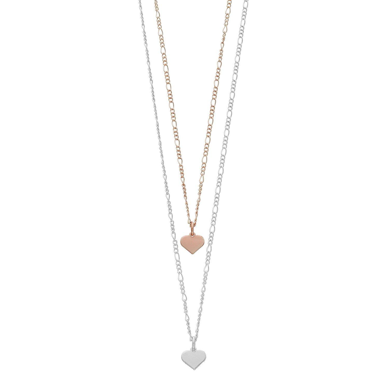 Lc lauren conrad two tone heart pendant necklace set save money