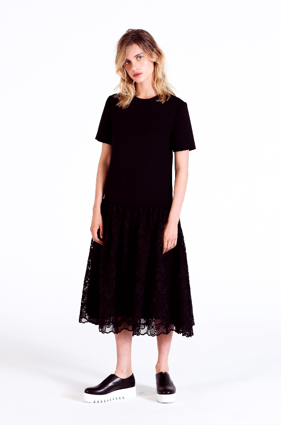 40d96462834c6 EDIT The Brand PS16 Resort Collection - Full Peplum Dress In Black Crepe    Floral Lace