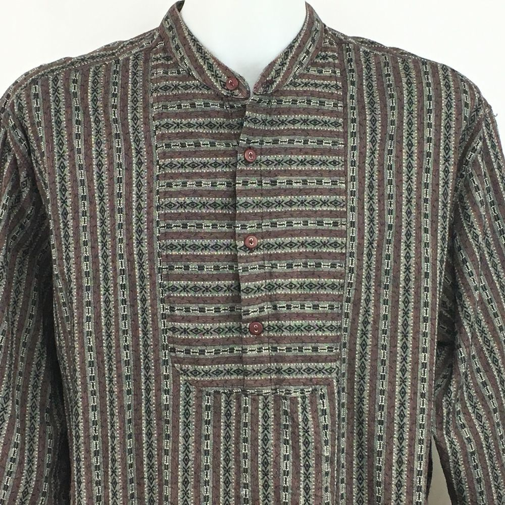 Wah Maker Frontier Banded Collar Pullover Bib Shirt Mens Xxl Western