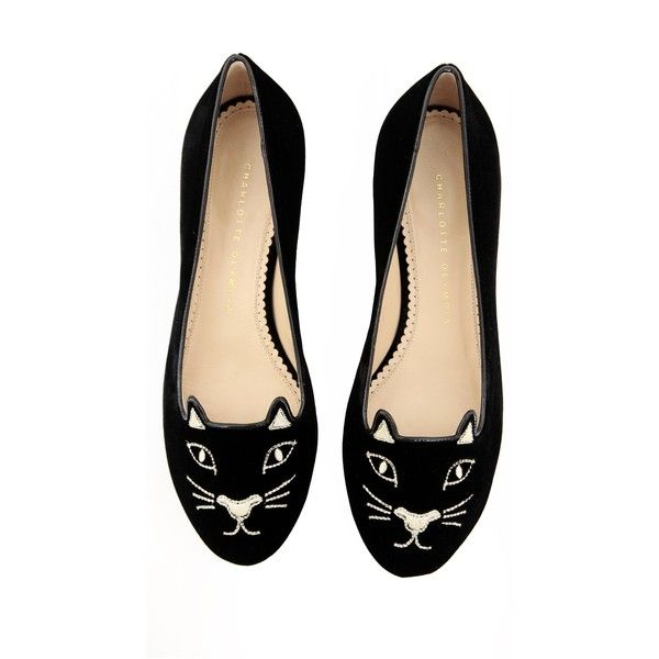 SHOP Kitty Flats Charlotte Olympia ❤ liked on Polyvore featuring shoes, flats, embroidered flats, velvet flats, cat flat shoes, flat pumps and black and gold shoes