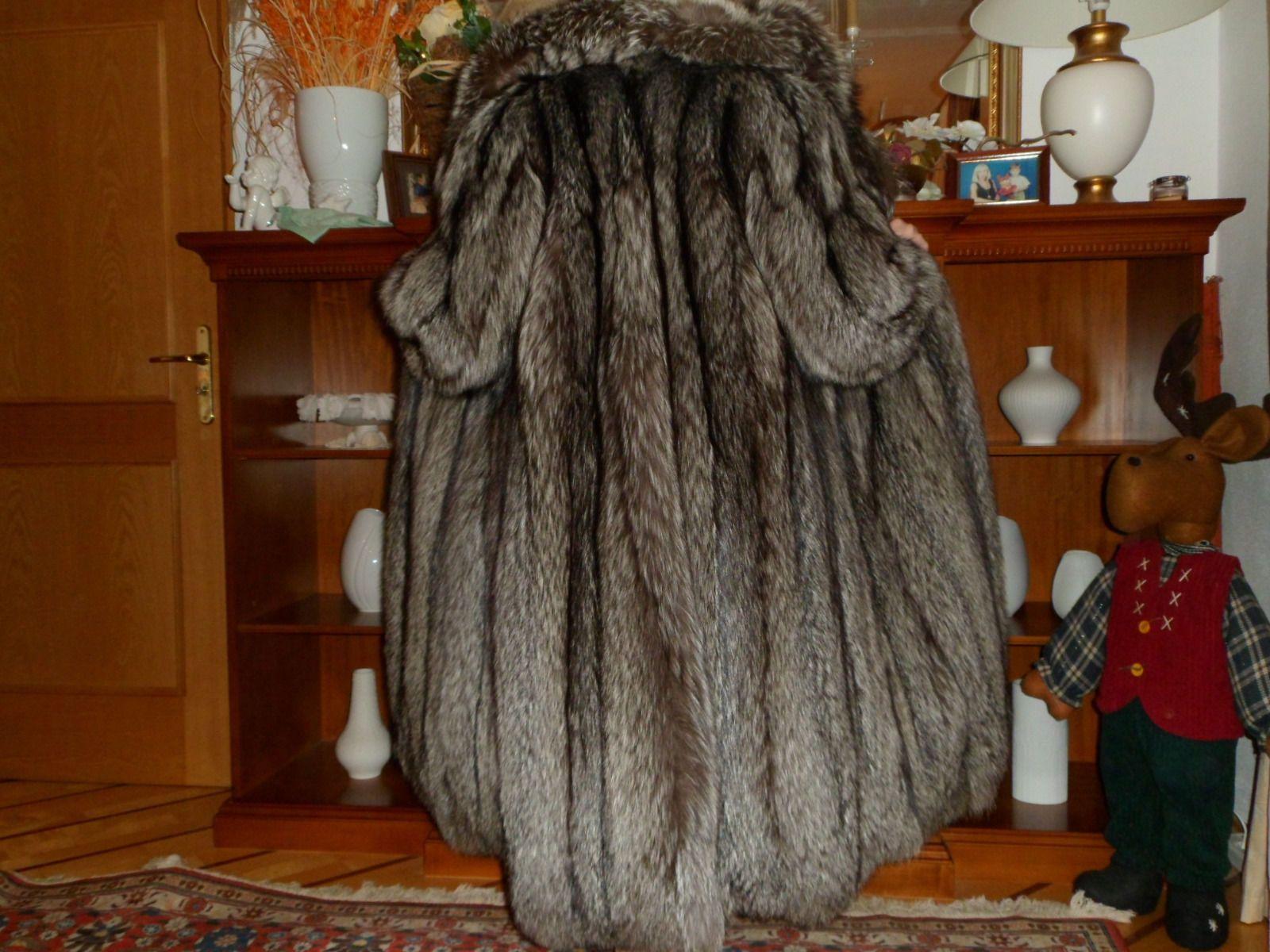 Silberfuchsmantel Silberfuchs Mantel Pelz Pelzmantel Saga Fox 119 cm lang Rieger | eBay