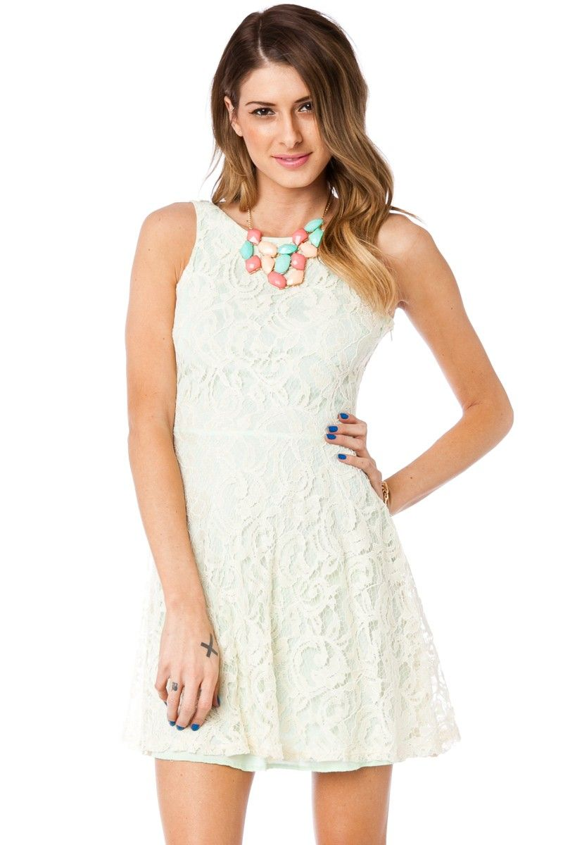 ebfe80139f ShopSosie Style   Lace Dream Skater Dress in Mint Ivory
