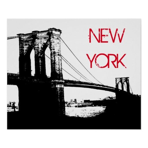 Black white pop art brooklyn bridge new york city