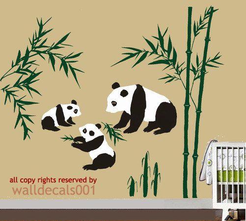 Kids Wall Decals panda decals baby decals nursery decals bammboo boy ...