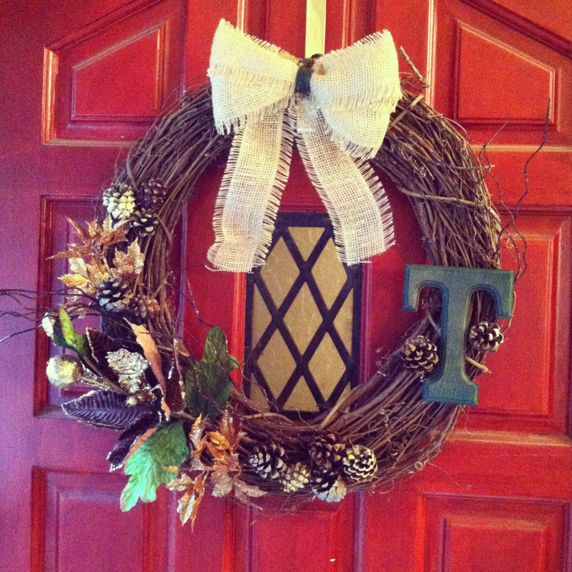DIY wreath. Super and easy. .99 cent buckets from Michaels have everything you need! The monogram gives it that extra something special! #holidayspirit #thanksgiving #thankful #crafty #diywreath # monogrammedwreath