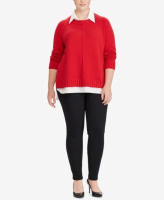 d27df8ca6cb Lauren Ralph Lauren Plus Size Layered-Look Sweater - Lipstick Red 2X ...