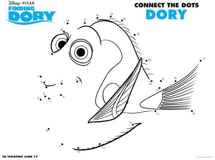Disney Finding Dory Connect The Dots Coloring Page