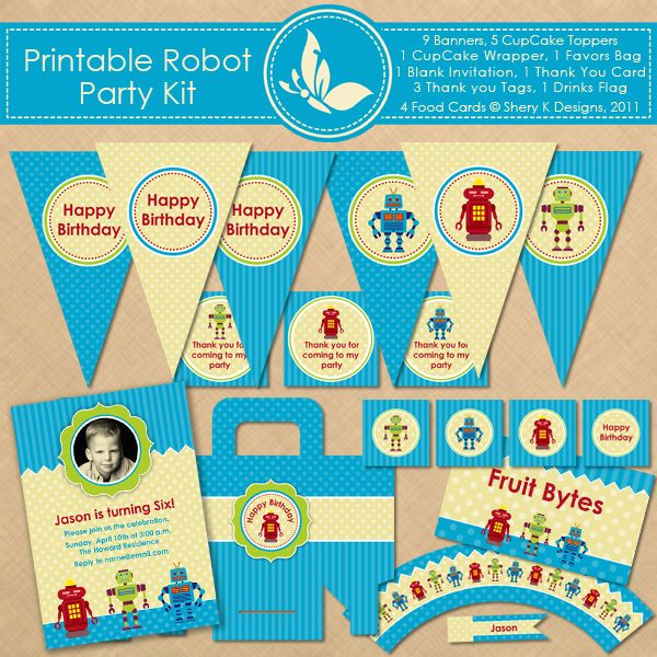 Robot Birthday Party Kit This listing is for 9 Banners 5 CupCake