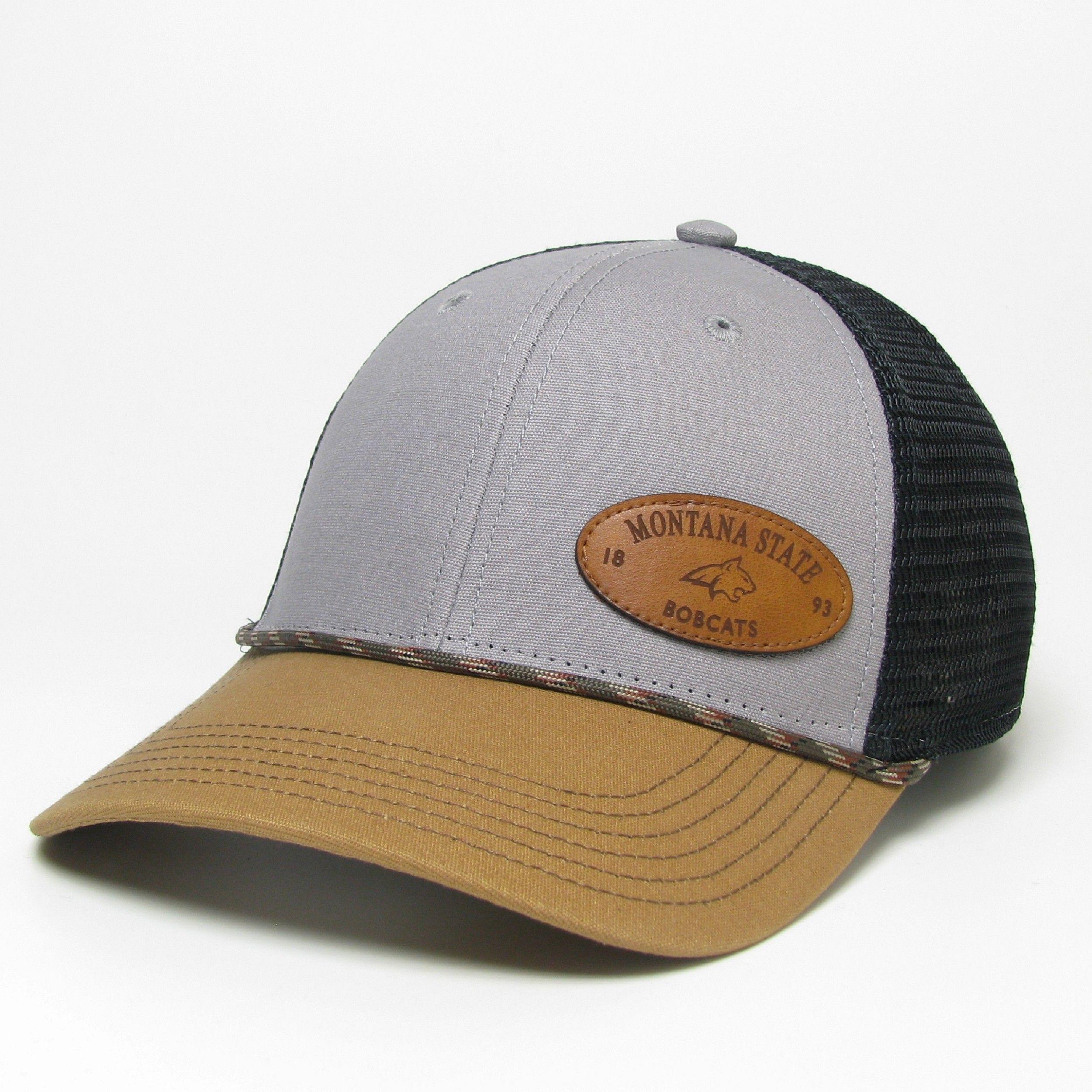 Legacy Montana State Bobcats Leather Logo Trucker Snapback Hat In 2020 Leather Snapback Hats Montana State University