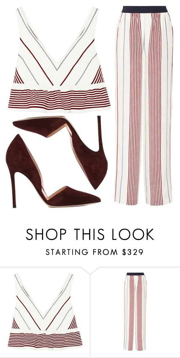 """Stripes"" by fridaeklof ❤ liked on Polyvore featuring Elizabeth and James and Gianvito Rossi"