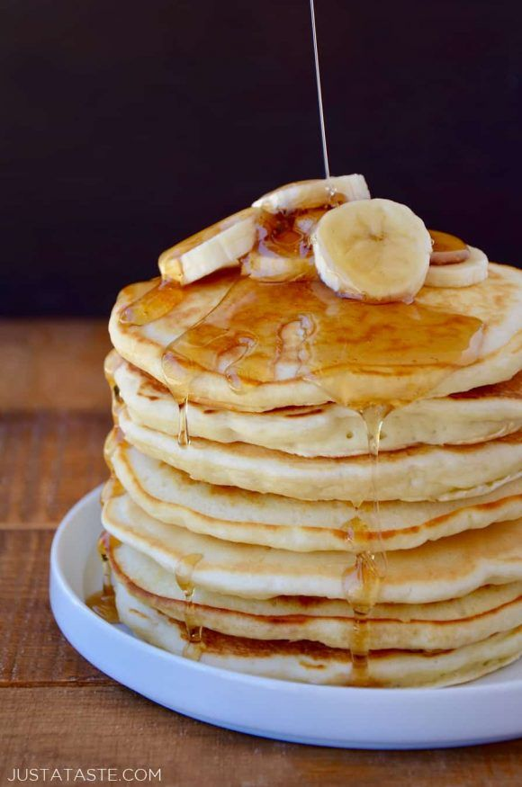 The Sour Cream In This Recipe Lends A Touch Of Tang That Balances Out The Added Sweetness Of The Sweet Cream Pancakes Recipe Banana Recipes Sour Cream Pancakes