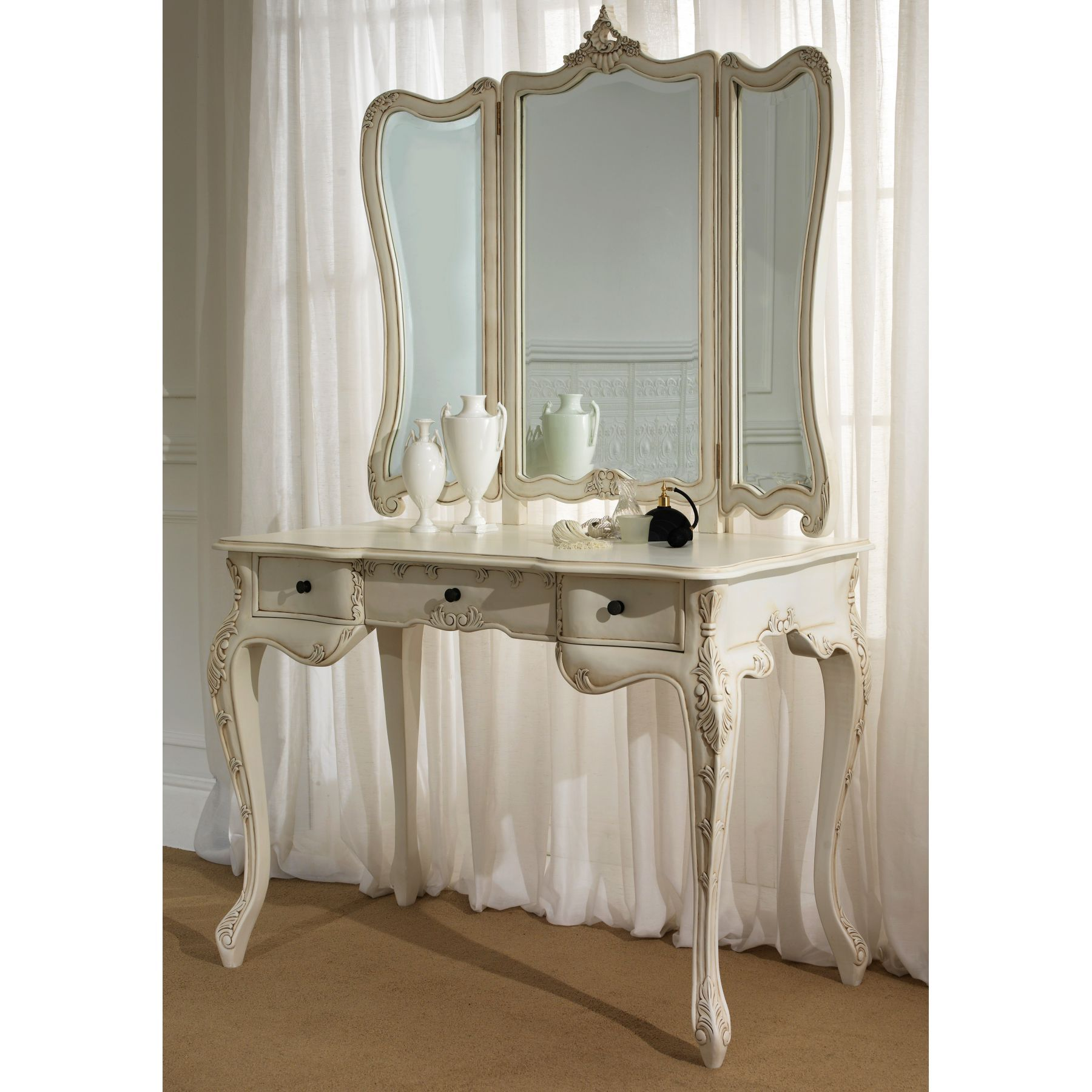 Antique dressing table with mirror - Mirror Decoration Antique Wooden Dressing Table