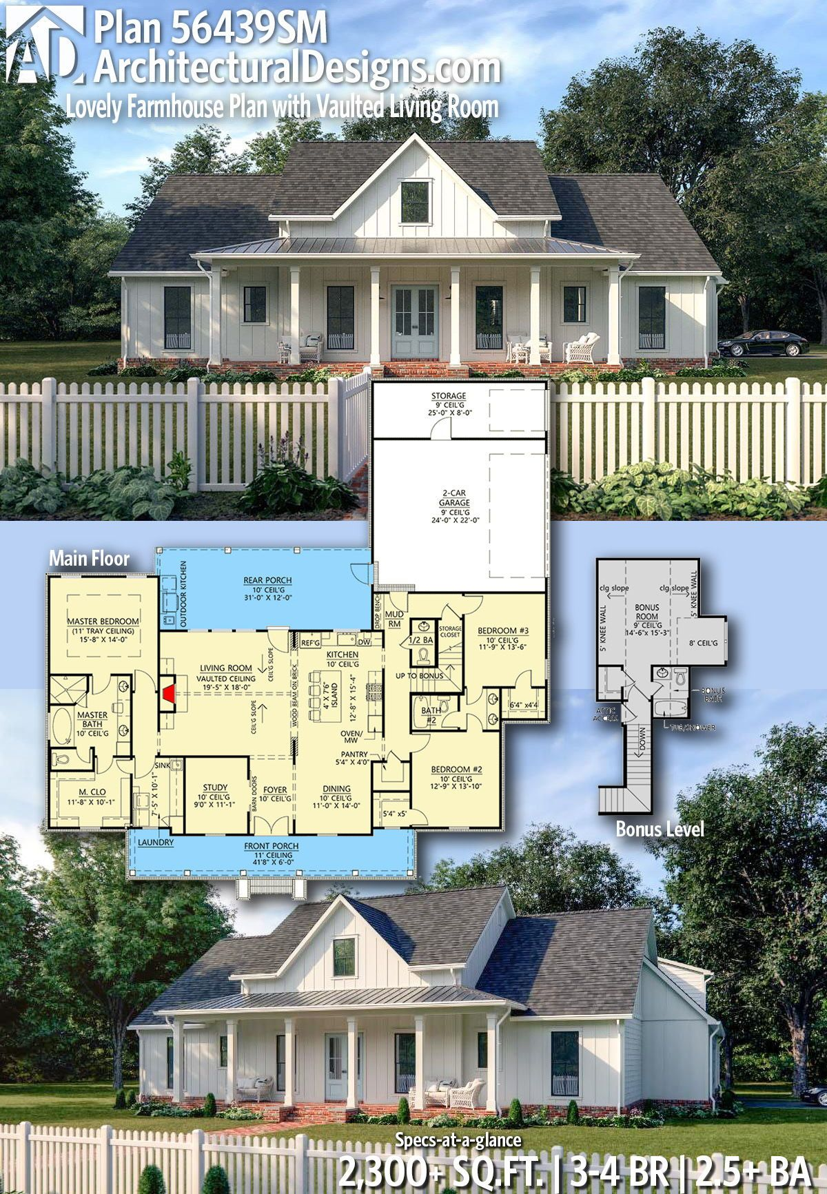 Plan 56439SM Lovely Farmhouse Plan with Vaulted Living