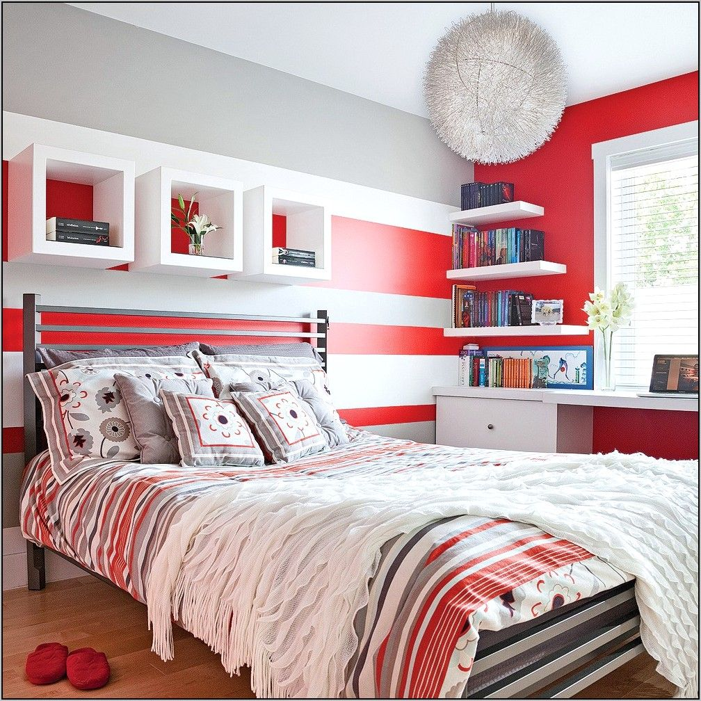 100 Incroyable Concepts Chambre Gris Blanc Rouge