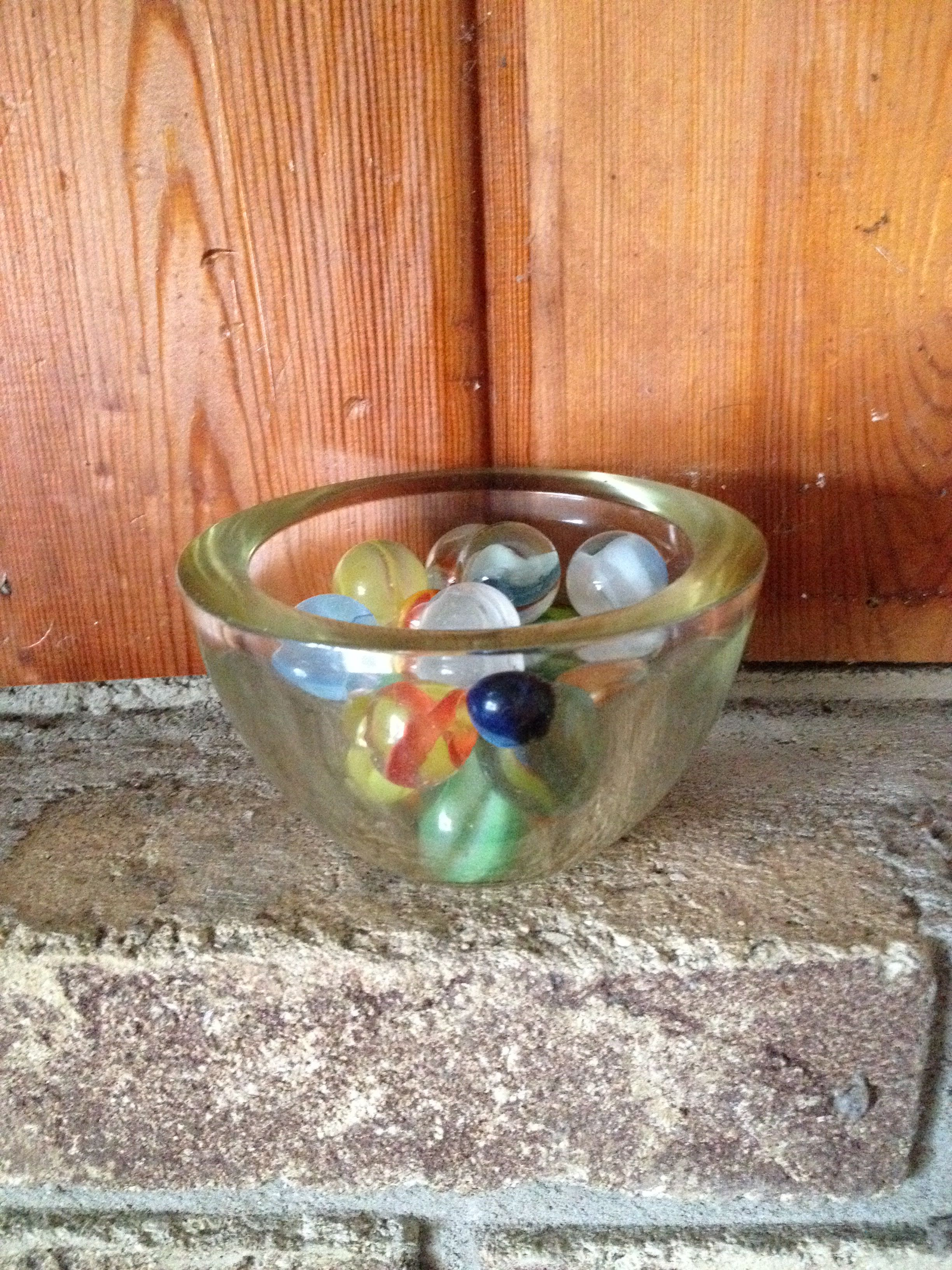 Small glass bowl purchased at goodwill for filled with large