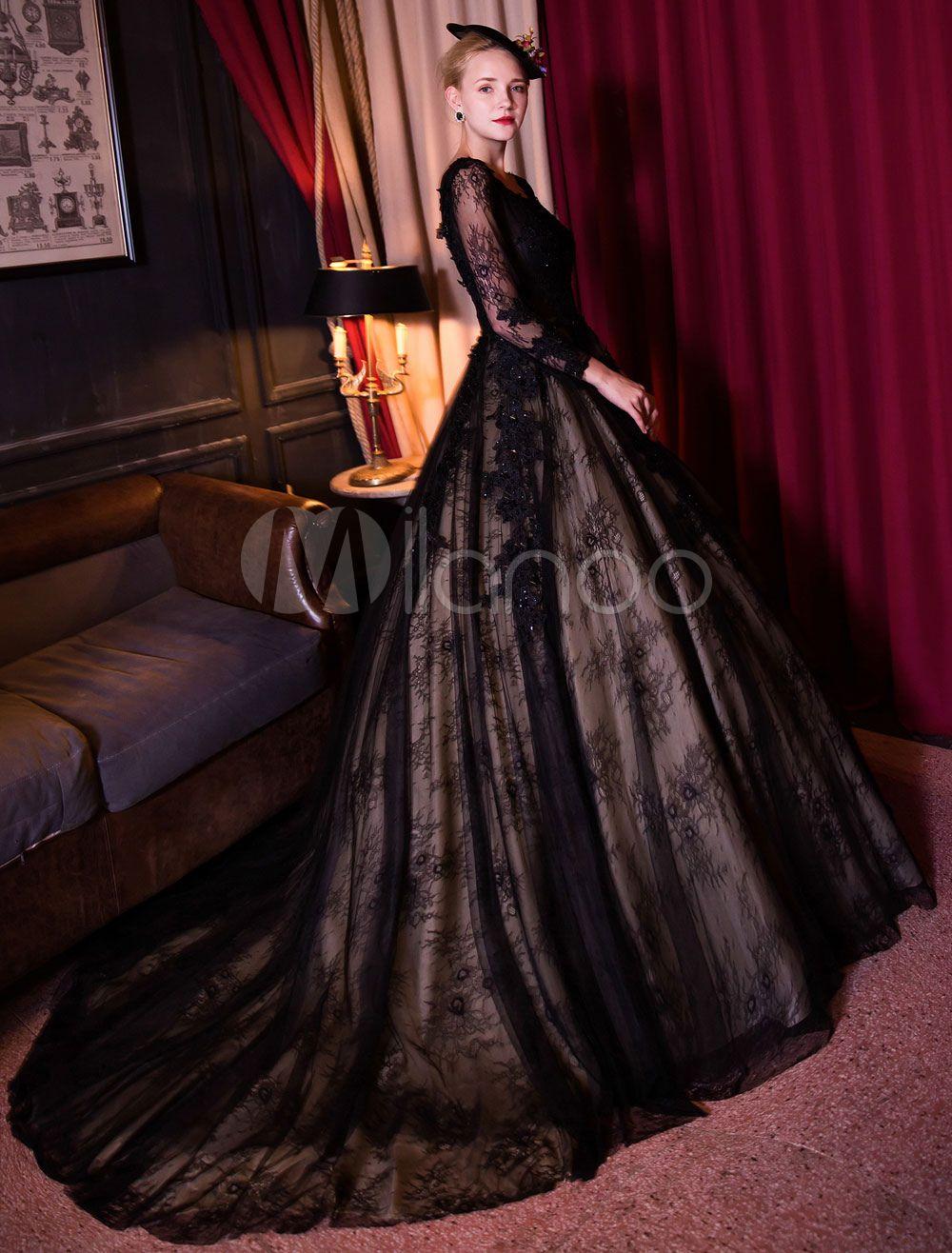 Black Wedding Dress Princess Lace Backless Quinceanera Dress Long Sleeve Illusion Beaded Bridal Gown With Train Lace Princess Wedding Dresses Princess Wedding Dresses Quinceanera Dresses [ 1316 x 1000 Pixel ]