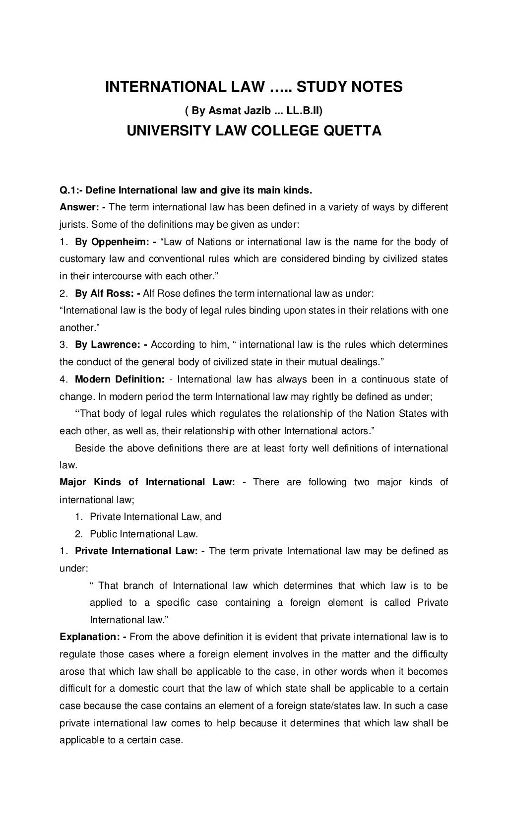International law notes by asmatullah by University Law College