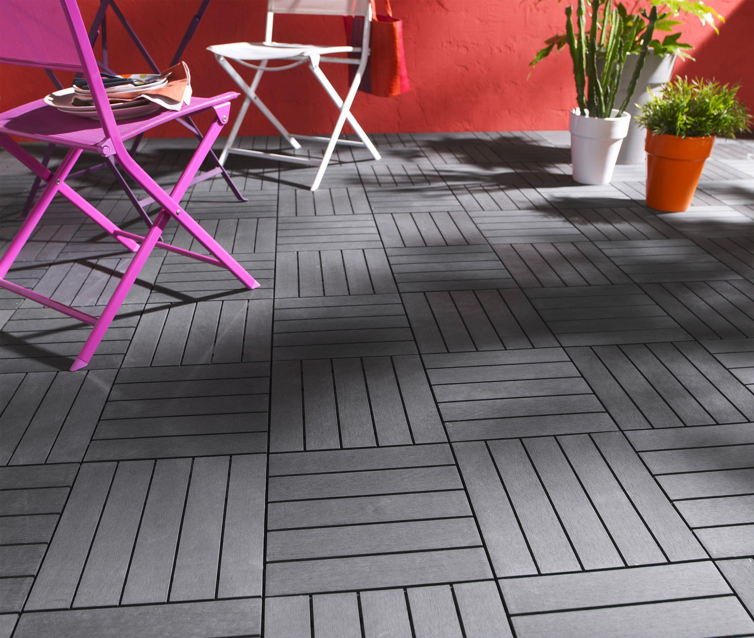 Dalle Composite Renforcee Anthracite Blooma 50 X 50 Cm Terrasse Bois Decoration De Terrasse Exterieure Terrasse Faite Maison