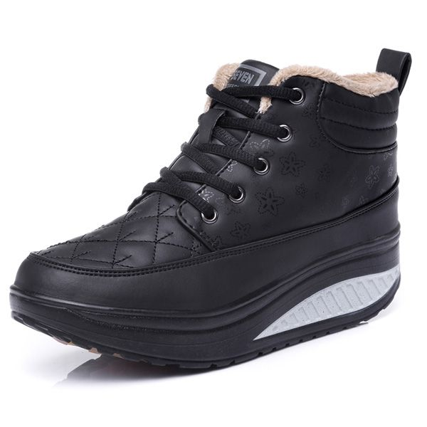 Winter Cotton Shake Shoes Casual High-top Sneakers Lace Up Platform Boots
