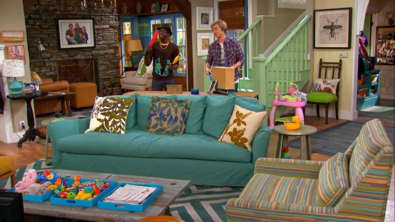 I love the house from good luck charlie on the disney channel the couch the rug the pillows the wall decor so great