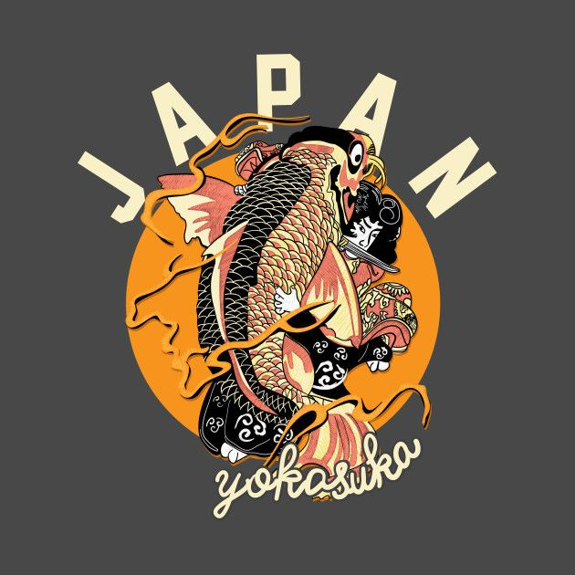 Check Out This Awesome Japanese Style Koi Fish Design On Teepublic Seni Jepang Seni Tradisional Inspirasi Desain Grafis