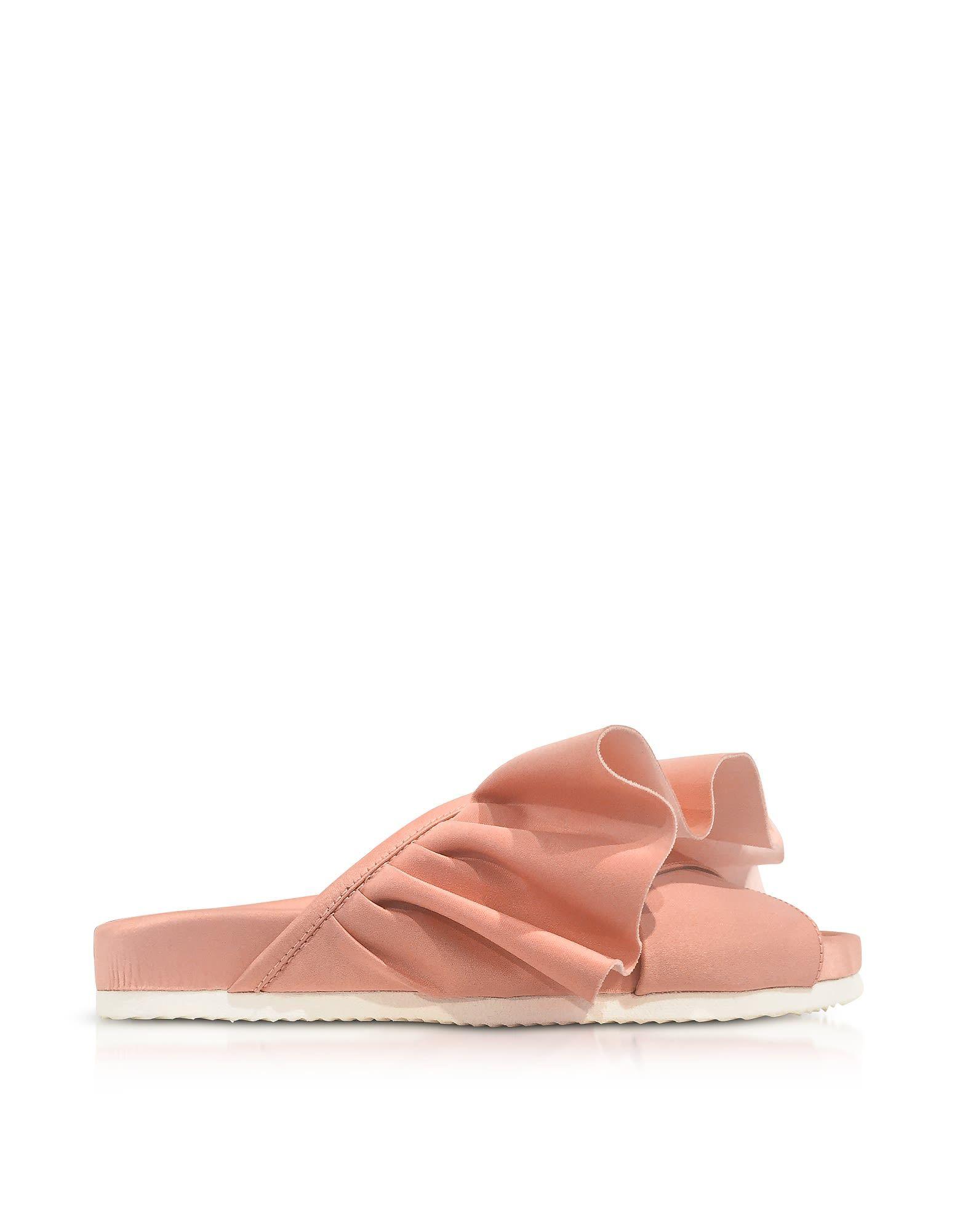 JOSHUA SANDERS Shoes, Satin Ruffle Slide Sandals