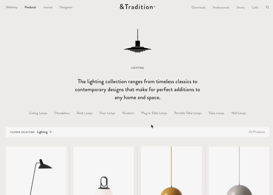 Product Specifications Tradition For Web Design Inspiration Added By Awwwards To Clean Furniture Product Light In 2020 Awwwards Web Design Inspiration Web Design