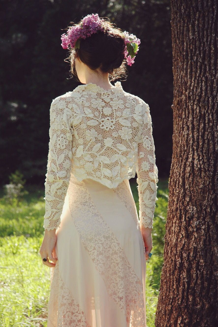Pink dress and jacket for wedding  Vintage Victorian revival cotton lace jacketbolero this would look