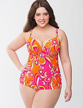 d48b30ee6c Paisley swim tank with built in plunge bra by Cacique