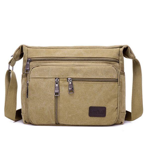 Solid Mens Canvas Bag Crossbody Travel Bag Men Shoulder Bag Messenger Handbag