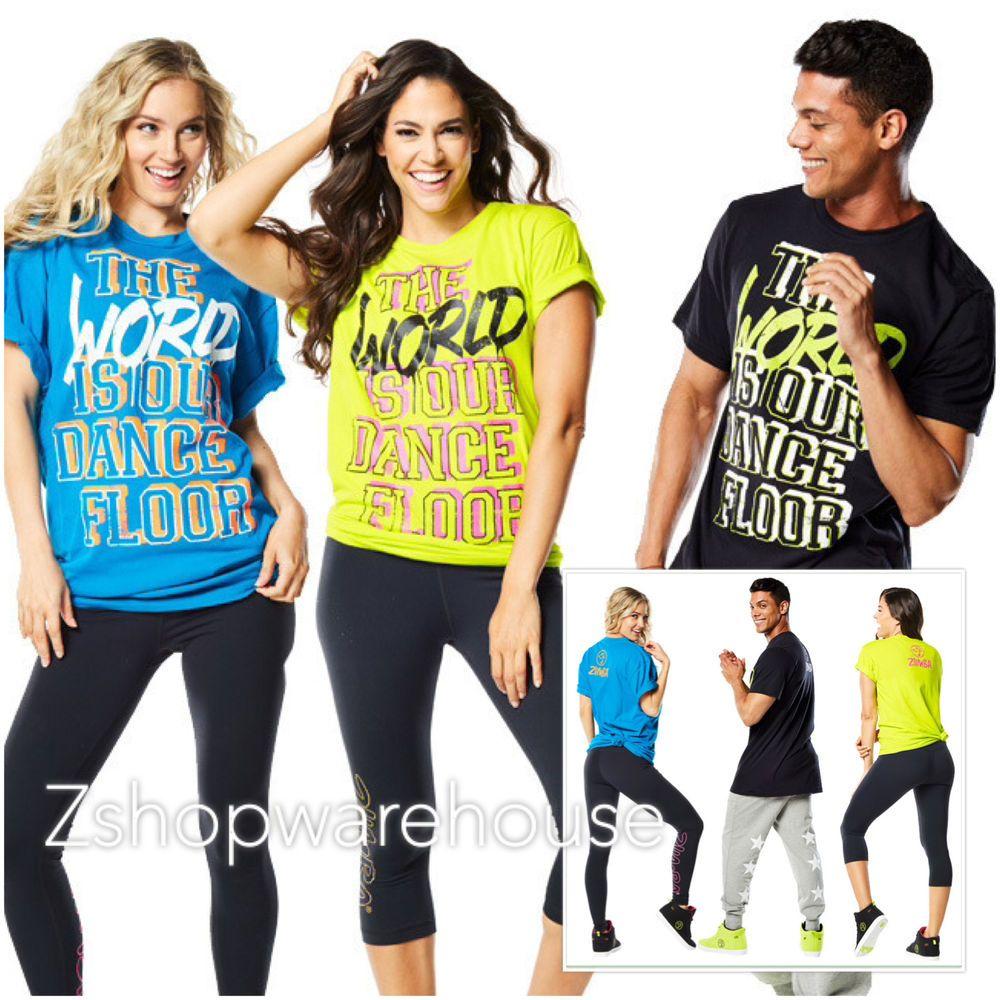 Zumba Fitness WORLD TOUR TEE T-Shirt TOP Black,Blue,Green NEW