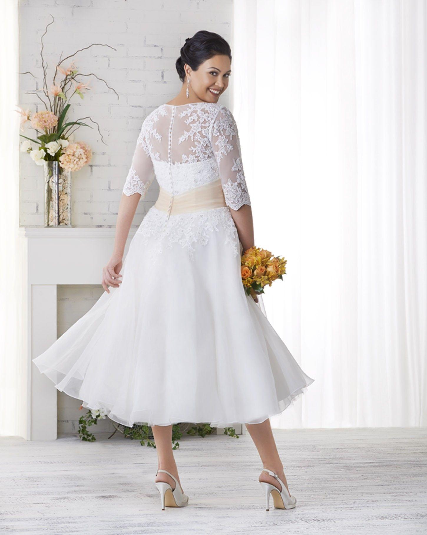 Elegant plus size lace tea length wedding dresses check more at